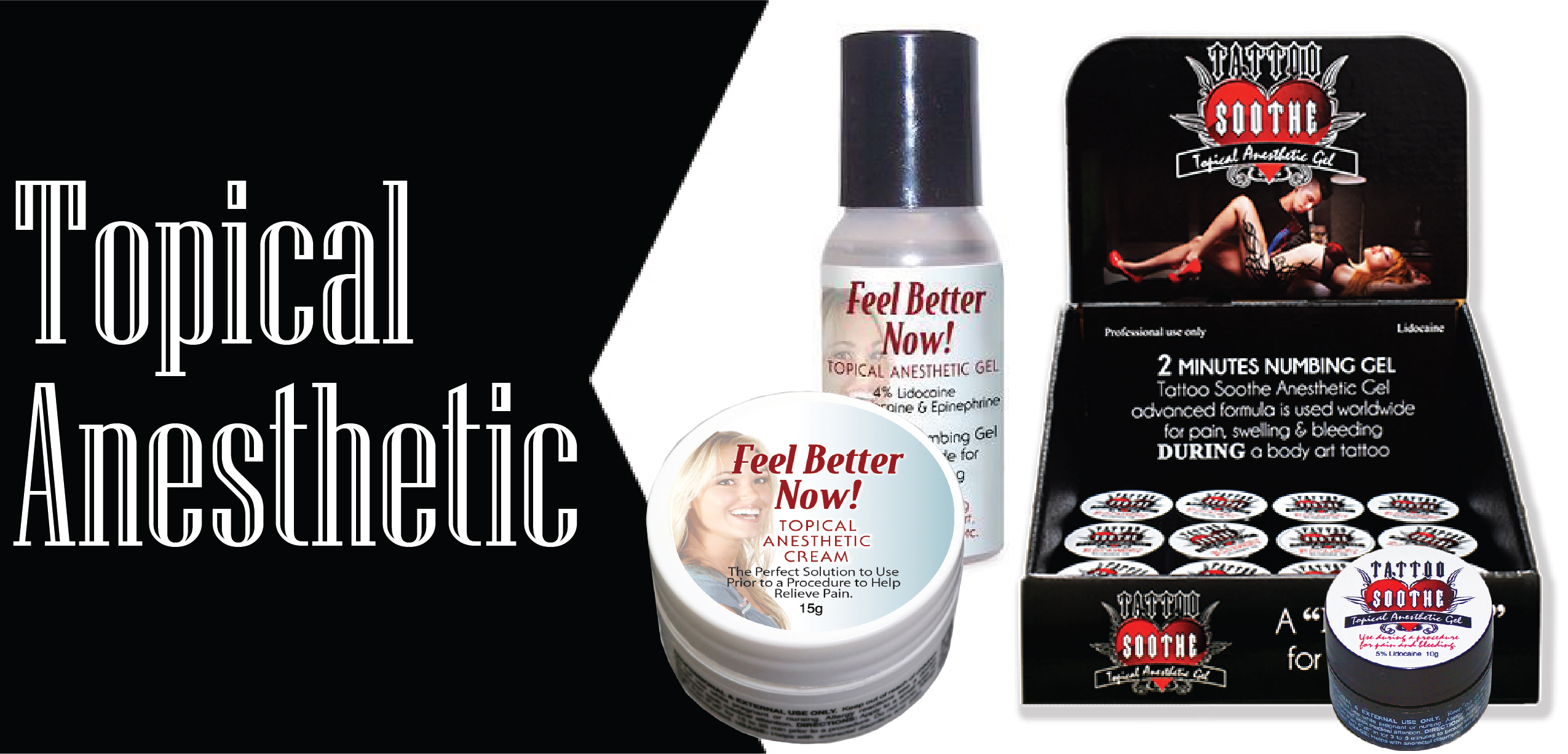 wholesale tattoo cosmetics, cosmetic tattoo supplies, topical anesthetic, feel better now, tattoo soothe